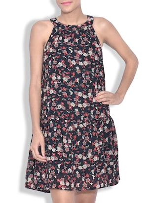 Multicolored Georgette Floral Printed Sleeveless Dress