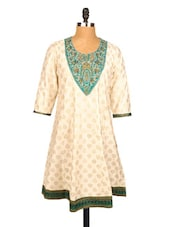 Off-white Printed Kurti With Embroidered Yoke - Xora