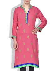 Pink Rayon Embroidered Kurta - By