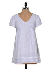 Light Blue Flared Cotton Top - Colors Couture
