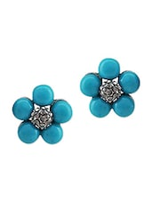 Blue  Embellished Stud Earrings - By