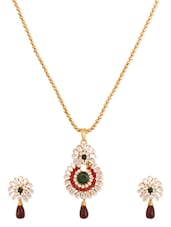 Antique Gold Plated Alloy Based Designer Pendants Set - Rich Lady