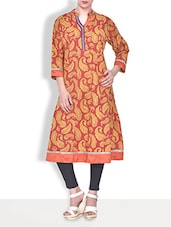 Red Cotton Printed Three Quarter Sleeved Long Anarkali Kurta - By