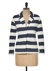 Navy Blue And Cream Striped Fleece Blazer - KAXIAA