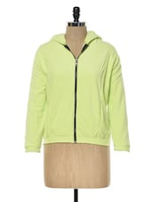 Lime Green Hooded Fleece Sweatshirt - KAXIAA