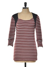 Red And Grey Striped Tunic - KAXIAA