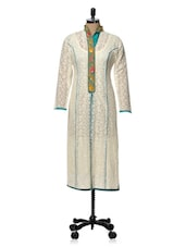 White Kurta With Embroidered Neckline - Rainbow Hues
