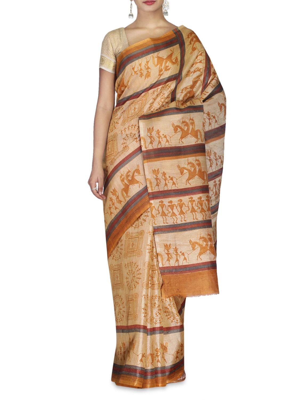 Multicoloured Bhagalpuri Khadi Silk Warli Printed Saree - By