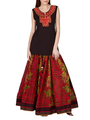 red VISCOSE COTTON GEORGETTE Lehenga