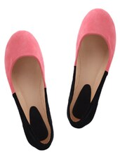 Chic Pink And Black Suede Ballerinas - KNIGHT N GALE