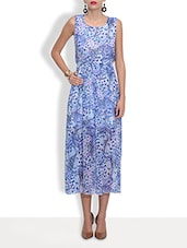 Blue Poly Georgette Long Dress - By