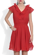Red Poly Georgette Mini  Dress - By