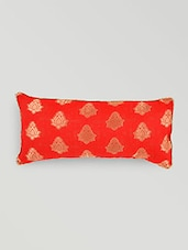 Red Cotton Brocade Cushion Cover - By