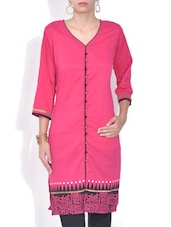 Pink Printed Poly Cotton Kurta - By