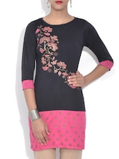Black Floral Printed Viscose Knit Kurti - By