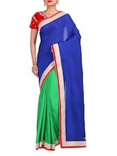 Blue Chiffon Embroidered Saree - By