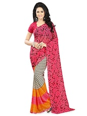 Floral And Geometric Printed Multicolor Georgette Saree - By