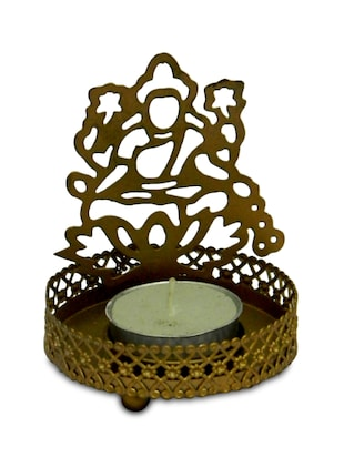 Gold metallic candle holder with cutwork