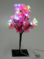 Pink Plastic Floral Lamp With Black Metallic Stand - By