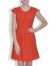 Orange Chiffon Pleated Dress - By