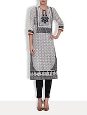 Black- White Cotton Printed Three Quarter Sleeved Long Kurta - By