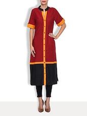 Red Crepe Printed Short Sleeved Long Kurta - By