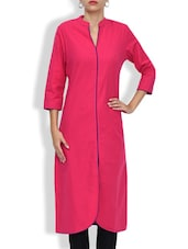 Pink Cotton Printed Three Quarter Sleeved Long Kurta - By
