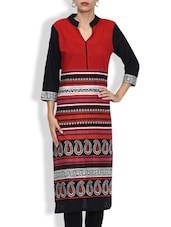 Cotton Printed Three Quarter Sleeved Long Kurta - By