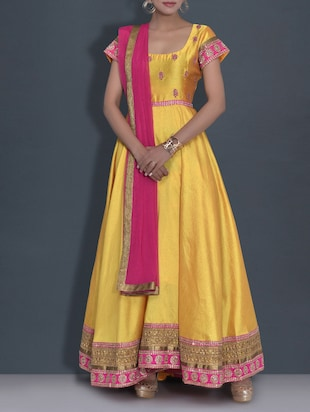 yellow embroidered poly dupion anarkali suit set -  online shopping for Semi-Stitched Suits