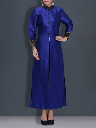 royal blue poly dupion straight gown