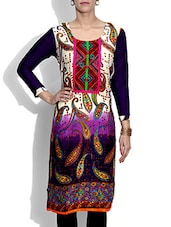 Purple And White Paisley Printed Rayon Kurta - By