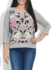 Grey Printed Quarter Sleeved Cotton Top - By
