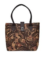 Paisley Printed Dark Brown Faux Leather Tote -  online shopping for Totes