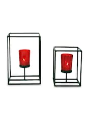 Brown Iron And Glass Tea Light Holders With Red Glass - By