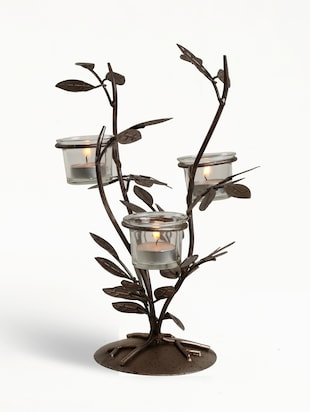Brown Iron And Glass Tea light Holder With Clear Glass