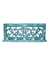 Scroll Worked Blue Wood And Mirror Tea Light Holder - By