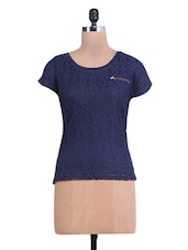 Navy Blue Viscose And Nylon Net Top - By