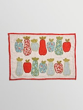 Off White Fruits Embroidered Cotton Single Cushion Cover - By