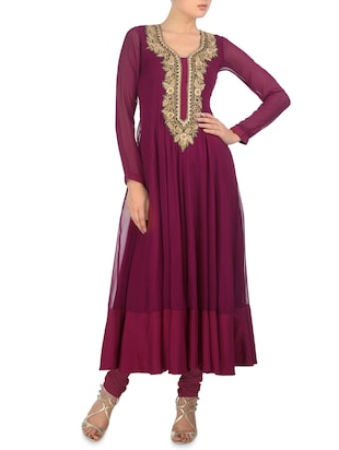 Wine gathered stitched kurta set