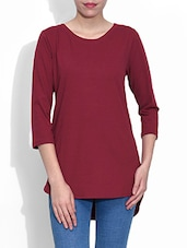 Blue Cotton And Polyester Plain Three Quarter Sleeved Top - By