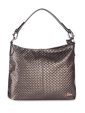 Copper Quilted Leatherette Hobo Bag - By