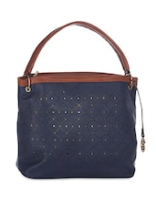 Navy Blue Leatherette Cutwork Detail Hobo Bag - By