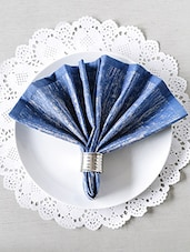 Blue Cotton Square Table Napkins (Set Of 6) - By