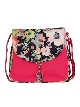 pink floral printed canvas sling bag