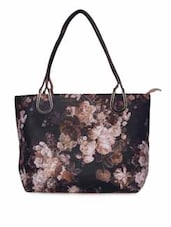 Multicolored Floral Printed Leatherette Handbag - By