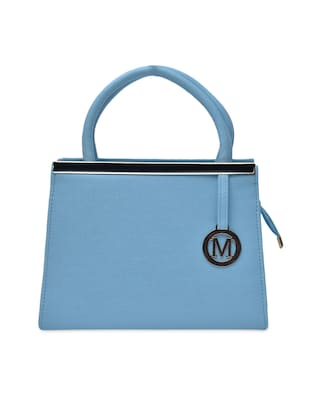 solid blue leatherette  handbag -  online shopping for handbags
