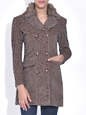 Brown Velvet Printed Coat - By