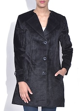 Solid Black Velvet Full Sleeves Coat - By