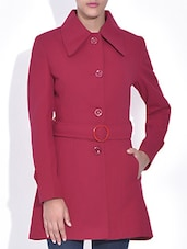 Solid Red Woolen Full Sleeves Coat - By