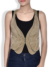 Beige Corduroy Sleeveless Waist Coat - By